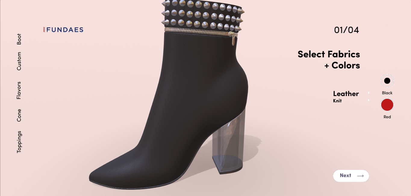 Shoes 3D in three.js