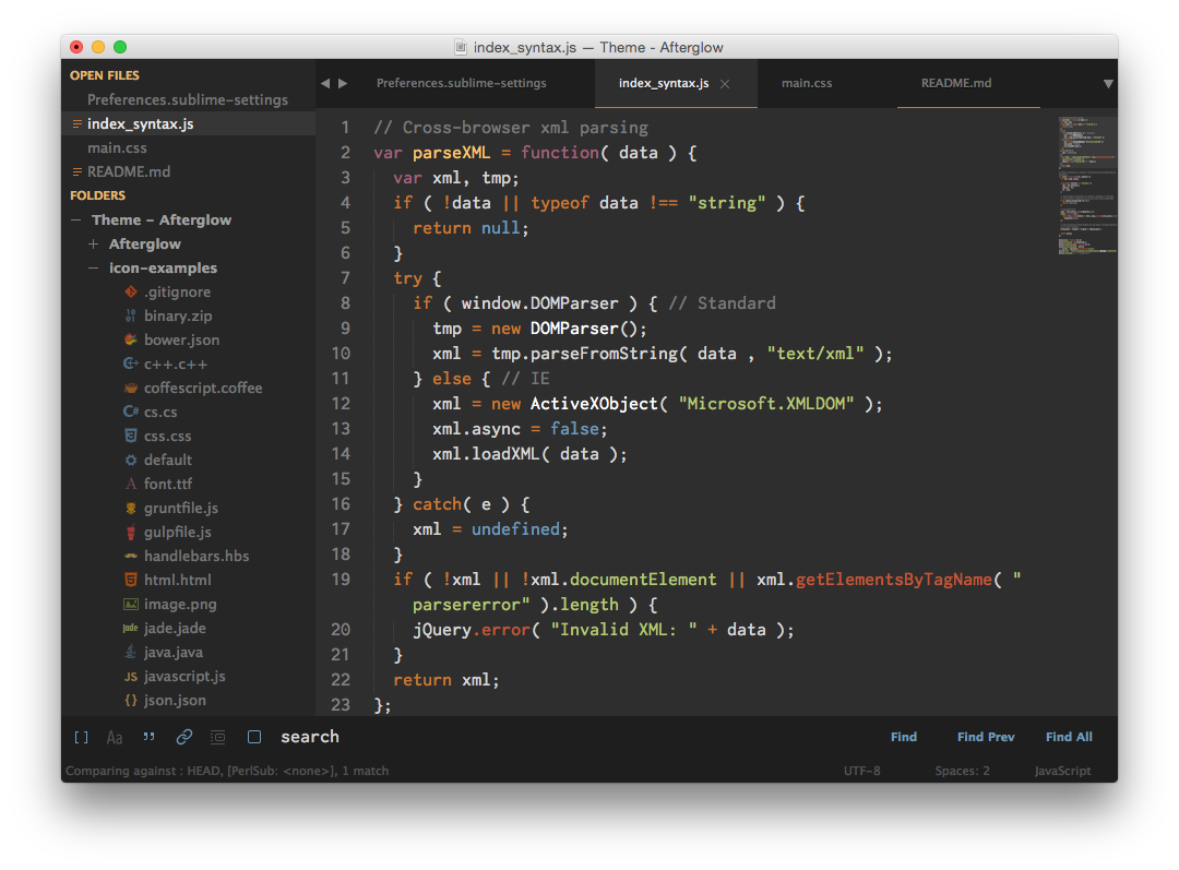 Afterglow Sublime Text Theme