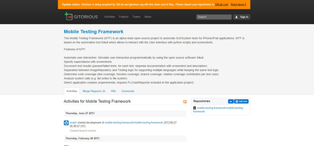 Mobile Testing Framework   Gitorious