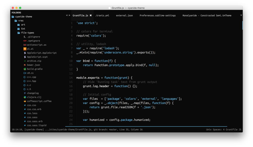 Cyanide Sublime Text Theme