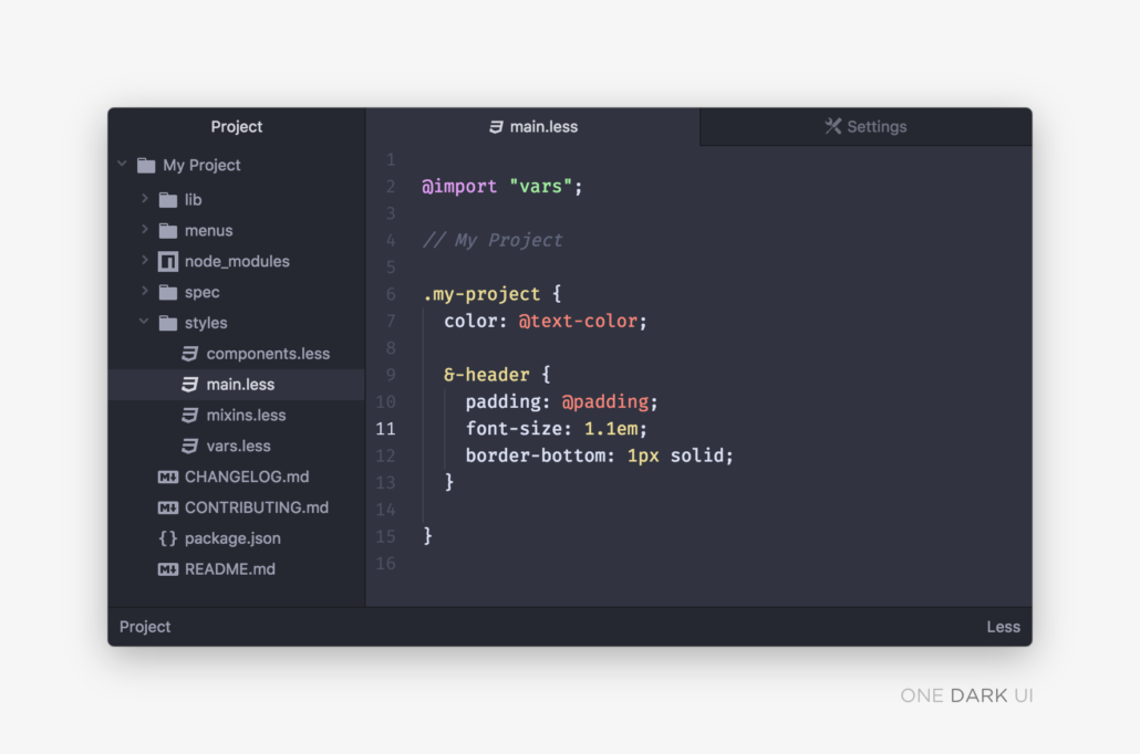 One Dark Sublime Text Theme